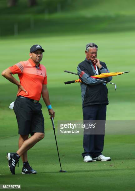 Victor Garcia father of Sergio Garcia of Spain looks on during the pro am ahead of the Andalucia Valderrama Masters at Real Club Valderrama on...