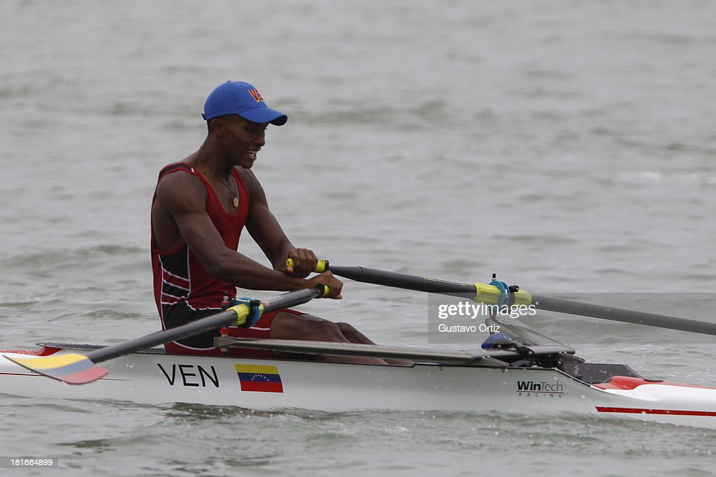 Victor gill Willson competes during the Men's Pair Scull Play off as part of the I ODESUR South American Youth Games at Pista de Regatas Cantolao on September 23, 2013 in Lima, Peru.