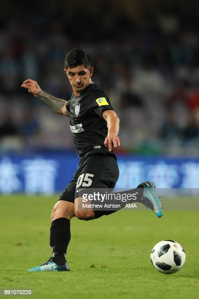 Victor Guzman of CF Pachuca in action during the FIFA Club World Cup UAE 2017 semifinal match between Gremio FBPA and CF Pachuca at Hazza Bin Zayed...