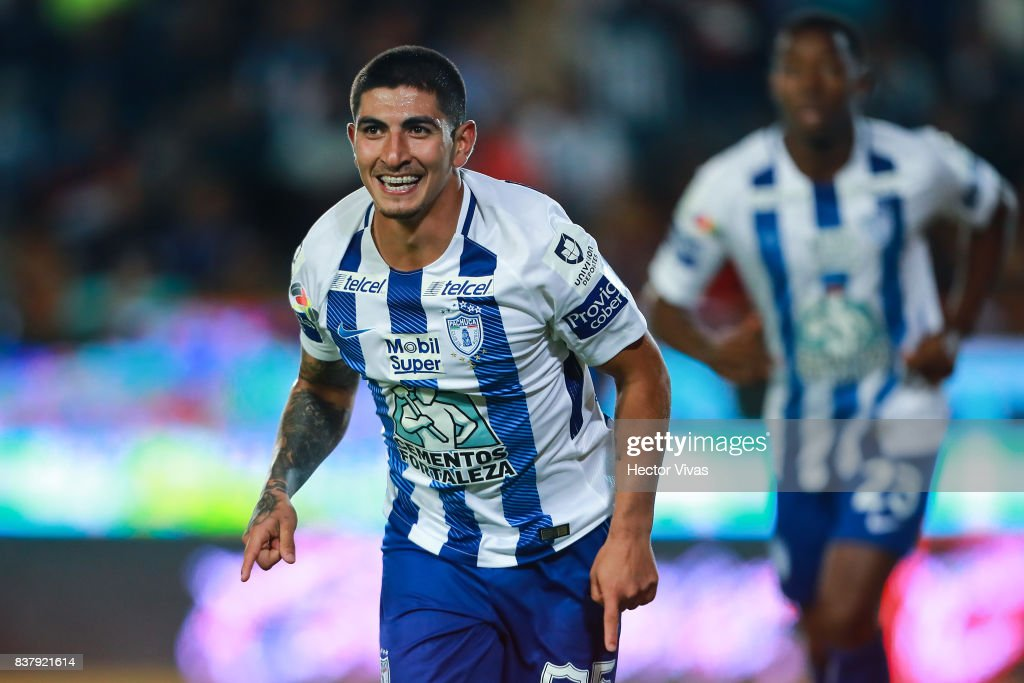 Victor Guzman of Pachuca celebrates after scoring the third goal of his team during the sixth round match between Pachuca and Veracruz as part of the Torneo Apertura 2017 Liga MX at Hidalgo Stadium on August 22, 2017 in Pachuca, Mexico.