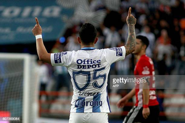 Victor Guzman of Pachuca celebrates his goal against Tijuana during their Mexican Clausura 2016 Tournament football match at Hidalgo stadium on...