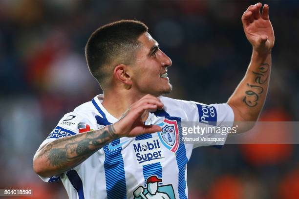 Victor Guzman of Pachuca celebrates his goal during the 10th round match between Pachuca and Toluca as part of the Torneo Apertura 2017 Liga MX at...
