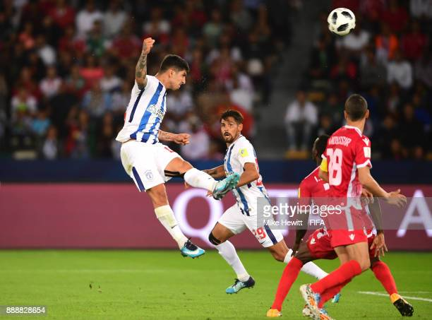 Victor Guzman of Pachuca scores his sides first goal during the FIFA Club World Cup match between CF Pachuca and Wydad Casablanca at Zayed Sports...