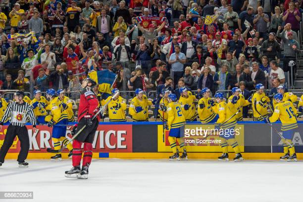 Victor Hedman celebrates his goal with teammates during the Ice Hockey World Championship Gold medal game between Canada and Sweden at Lanxess Arena...