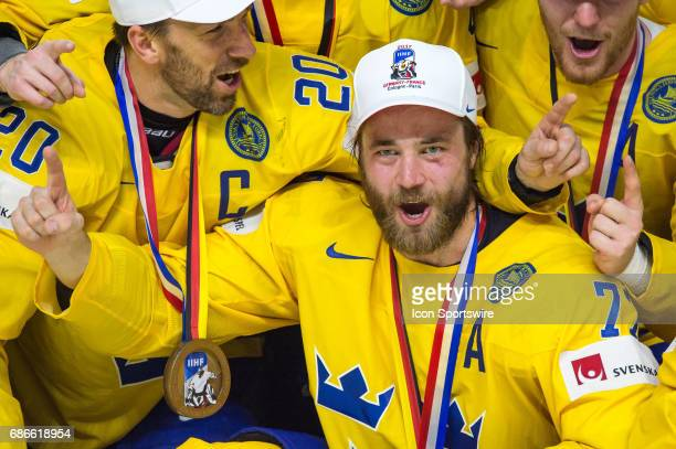 Victor Hedman celebrates the win over Canada during the Ice Hockey World Championship Gold medal game between Canada and Sweden at Lanxess Arena in...