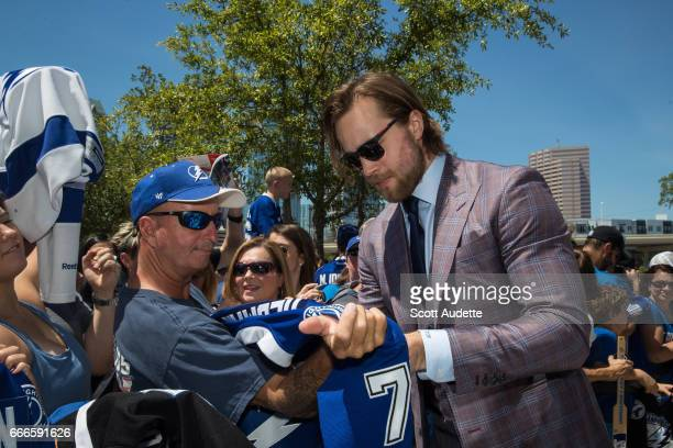 Victor Hedman of Tampa Bay Lightning walks the Blue Carpet before the game against the Buffalo Sabres at Amalie Arena on April 9 2017 in Tampa Florida