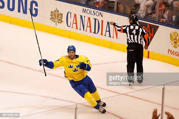 Victor Hedman of Team Sweden celebrates his second period goal while playing Team Russia during the World Cup of Hockey at the Air Canada Center on...