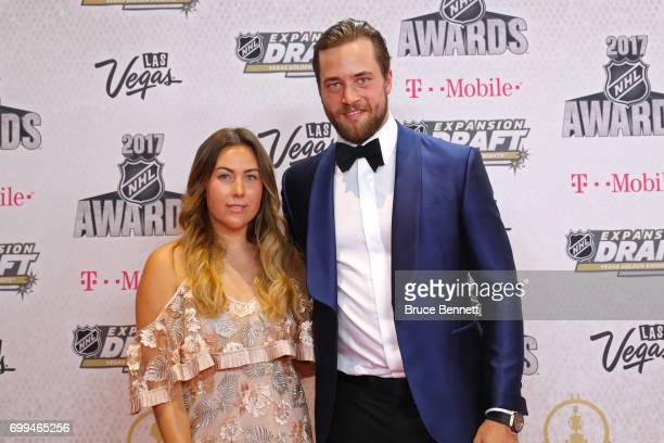 Victor Hedman of the Tampa Bay Lightning and Sanna Grundberg attend the 2017 NHL Awards at TMobile Arena on June 21 2017 in Las Vegas Nevada