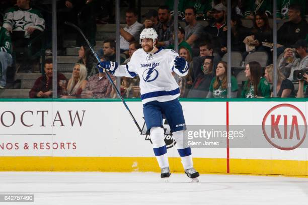 Victor Hedman of the Tampa Bay Lightning celebrates a goal against the Dallas Stars at the American Airlines Center on February 18 2017 in Dallas...