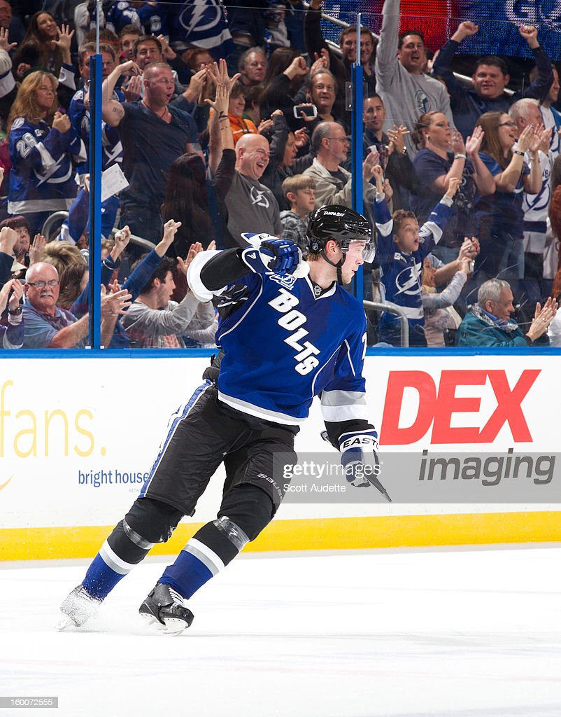 <a gi-track='captionPersonalityLinkClicked' href=/galleries/search?phrase=Victor+Hedman&family=editorial&specificpeople=4784238 ng-click='$event.stopPropagation()'>Victor Hedman</a> #77 of the Tampa Bay Lightning celebrates his goal against the Ottawa Senators during the second period at the Tampa Bay Times Forum on January 25, 2013 in Tampa, Florida.