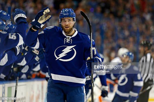 Victor Hedman of the Tampa Bay Lightning celebrates his goal against the New York Islanders during the first period of Game Five of the Eastern...