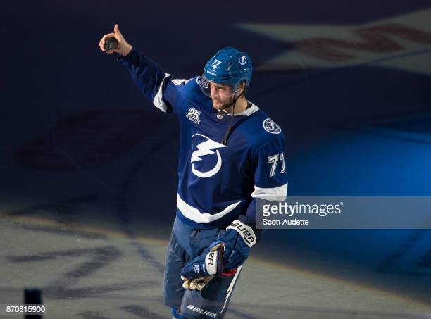 Victor Hedman of the Tampa Bay Lightning celebrates the win against the Columbus Blue Jackets at Amalie Arena on November 4 2017 in Tampa Florida