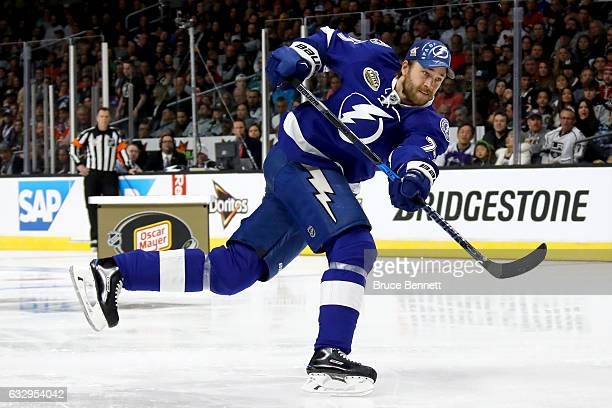 Victor Hedman of the Tampa Bay Lightning competes in the Oscar Mayer NHL Hardest Shot event during the 2017 Coors Light NHL AllStar Skills...
