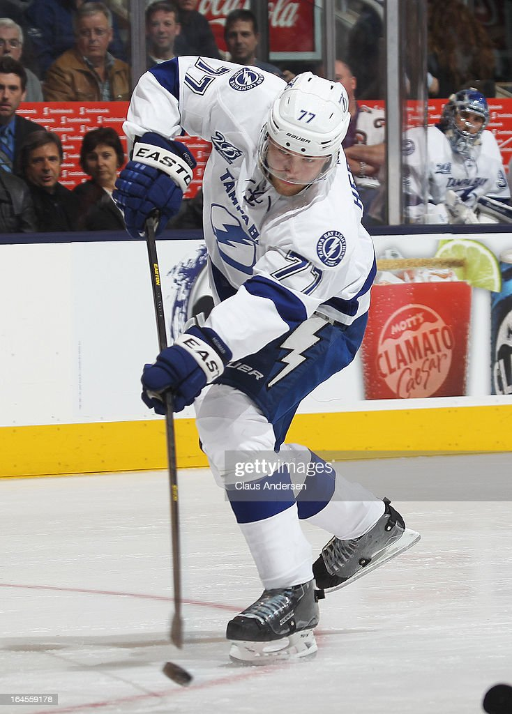 <a gi-track='captionPersonalityLinkClicked' href=/galleries/search?phrase=Victor+Hedman&family=editorial&specificpeople=4784238 ng-click='$event.stopPropagation()'>Victor Hedman</a> #77 of the Tampa Bay Lightning fires a shot in a game against the Toronto Maple Leafs on March 20, 2013 at the Air Canada Centre in Toronto, Ontario, Canada. The Leafs defeated the Lightning 4-2.