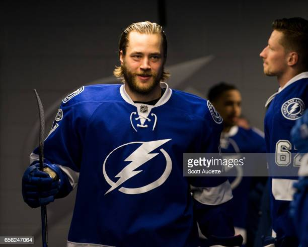 Victor Hedman of the Tampa Bay Lightning gets ready for the game against the Arizona Coyotes before pregame warm ups at Amalie Arena on March 21 2017...