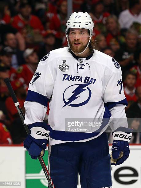 Victor Hedman of the Tampa Bay Lightning reacts against the Chicago Blackhawks during Game Four of the 2015 NHL Stanley Cup Final at the United...