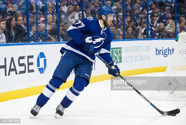 Victor Hedman of the Tampa Bay Lightning skates against the St Louis Blues during the second period at the Amalie Arena on February 14 2016 in Tampa...