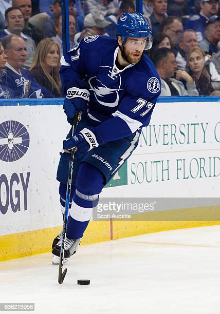 Victor Hedman of the Tampa Bay Lightning skates against the Vancouver Canucks during the second period at Amalie Arena on December 8 2016 in Tampa...