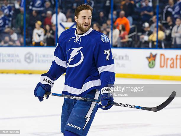Victor Hedman of the Tampa Bay Lightning skates during the pregame warm ups against the Pittsburgh Penguins at the Amalie Arena on January 15 2016 in...