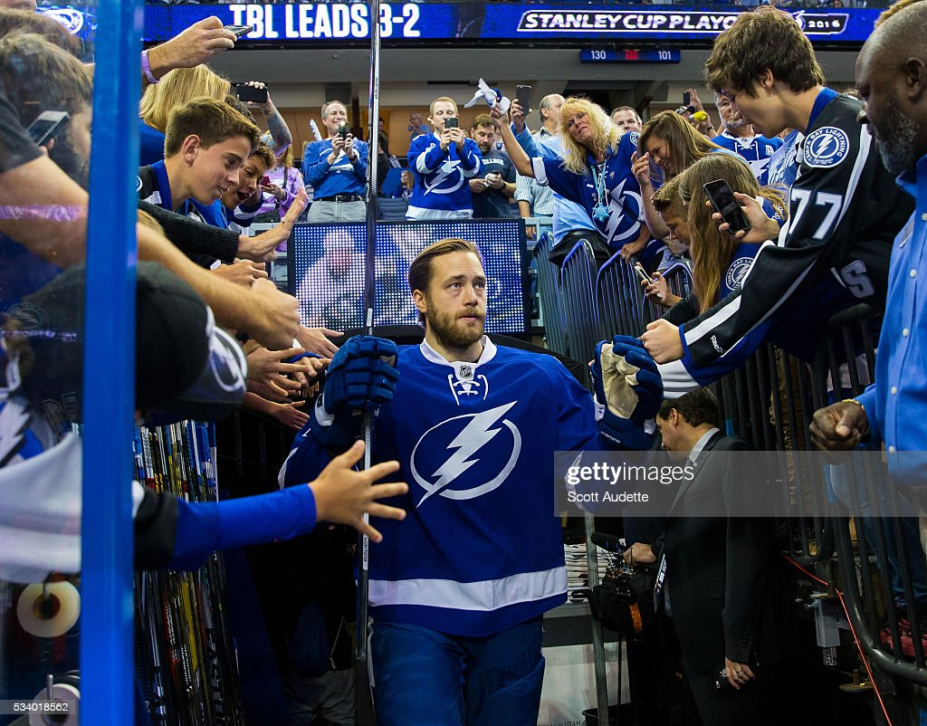 <a gi-track='captionPersonalityLinkClicked' href=/galleries/search?phrase=Victor+Hedman&family=editorial&specificpeople=4784238 ng-click='$event.stopPropagation()'>Victor Hedman</a> #77 of the Tampa Bay Lightning steps out to the ice against the Pittsburgh Penguins before Game Six of the Eastern Conference Finals in the 2016 NHL Stanley Cup Playoffs at the Amalie Arena on May 24, 2016 in Tampa, Florida.