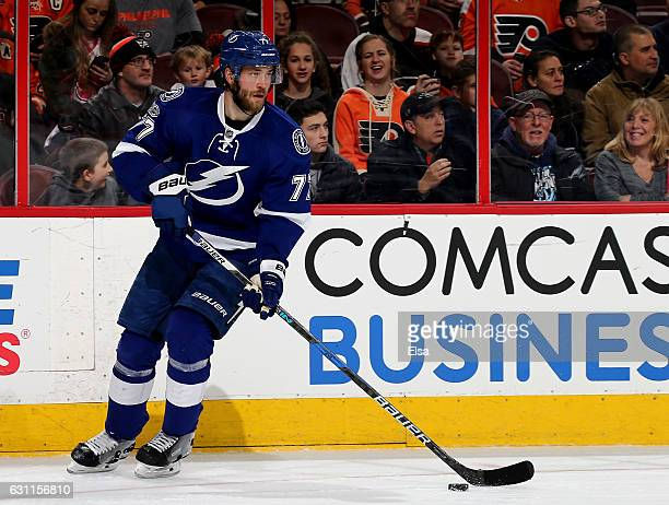 Victor Hedman of the Tampa Bay Lightning takes the puck in the second period against the Philadelphia Flyers on January 7 2017 at Wells Fargo Center...