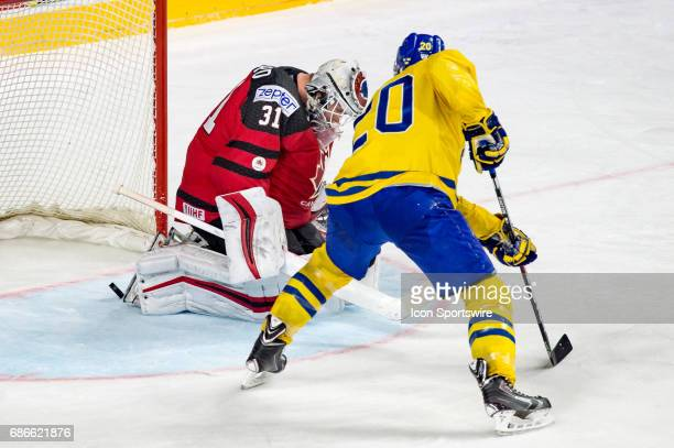 Victor Hedman scores a goal against Goalie Calvin Pickard during the Ice Hockey World Championship Gold medal game between Canada and Sweden at...