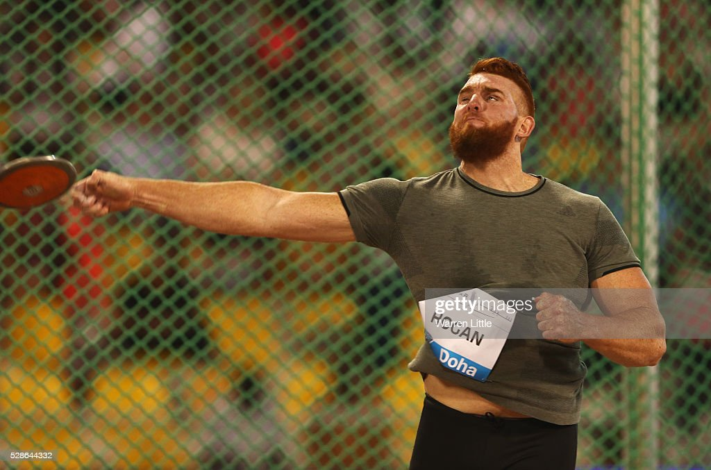 <a gi-track='captionPersonalityLinkClicked' href=/galleries/search?phrase=Victor+Hogan&family=editorial&specificpeople=11246316 ng-click='$event.stopPropagation()'>Victor Hogan</a> of South Africa competes in the Men's Discus final during the Doha IAAF Diamond League 2016 meeting at Qatar Sports Club on May 6, 2016 in Doha, Qatar.