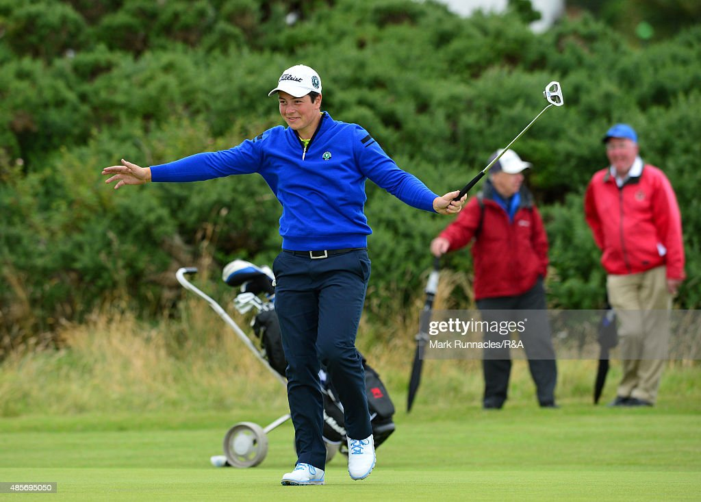 Victor Hovland of Continual Europe reacts with joy after sinking a 35ft putt to save the hole during the morning foursome match on day two of the...