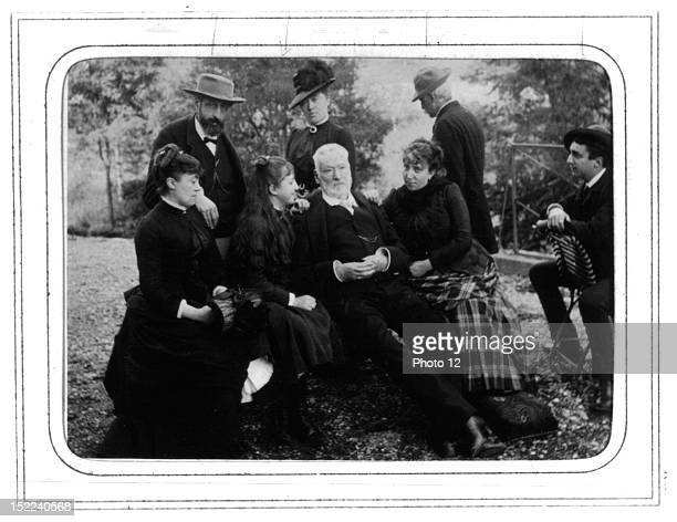 Victor Hugo at Ragaz with Jeanne and Alice Naquet Locroy and Georges Photograph by FischerParis Bibliotheque Nationale