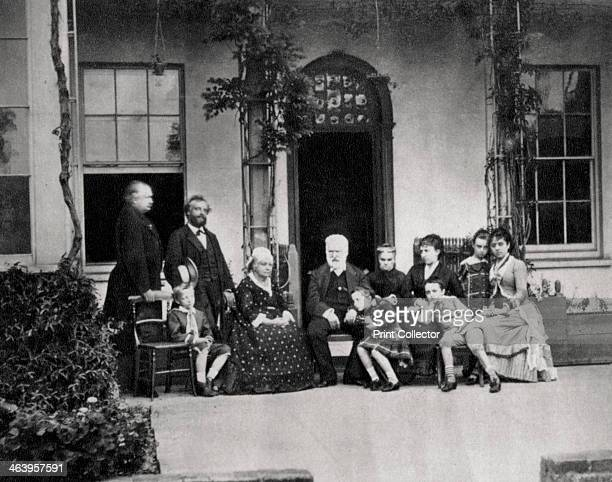 Victor Hugo French novelist in exile in Guernsey 1866 Victor Hugo with amongst others Juliette Drouet and his grandchildren Georges and Jeanne Hugo...