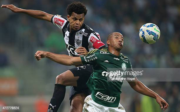Victor Hugo of Palmeiras fights for the ball with Edcarlos of Atletico during the match between Palmeiras and Atletico MG for the Brazilian Series A...
