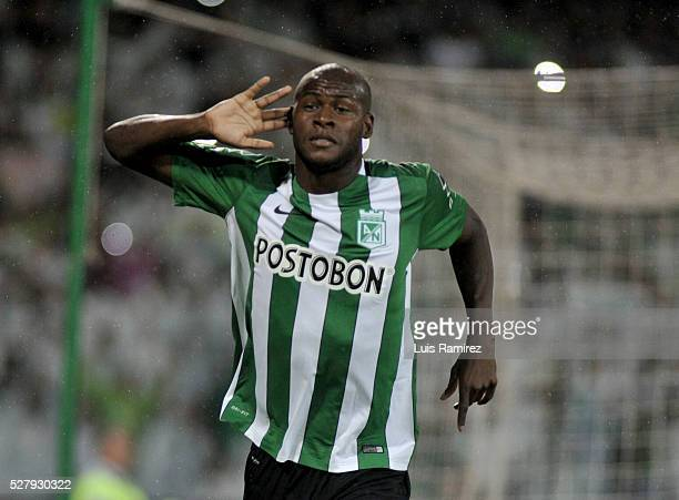 Victor Ibarbo of Atletico Nacional celebrates after scoring the opening goal by a penalty kick during a second leg match between Atletico Nacional...