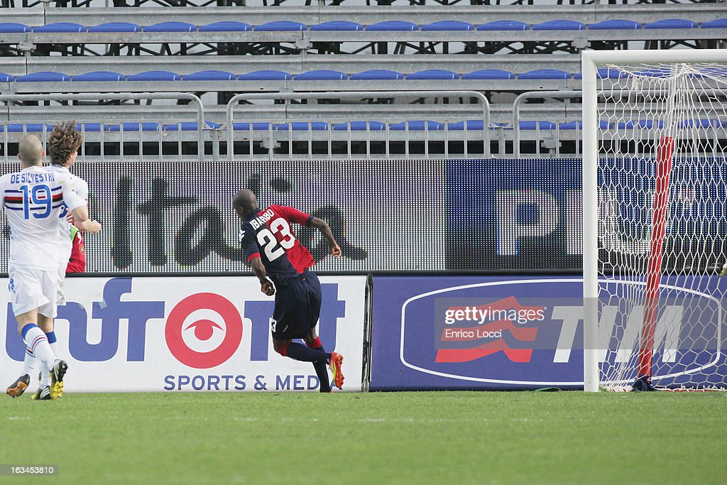 Victor Ibarbo of Cagliari after scoring 3-0 during the Serie A match between Cagliari Calcio and UC Sampdoria at Stadio Sant'Elia on March 10, 2013 in Cagliari, Italy.