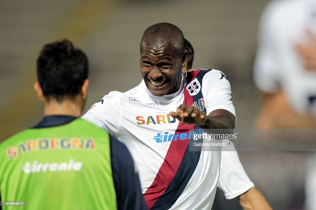 Victor Ibarbo of Cagliari Calcio celebrates after scoring a goal during the Serie A match between AS Livorno and Cagliari Calcio at Stadio Armando Picchi on September 25, 2013 in Livorno, Italy.