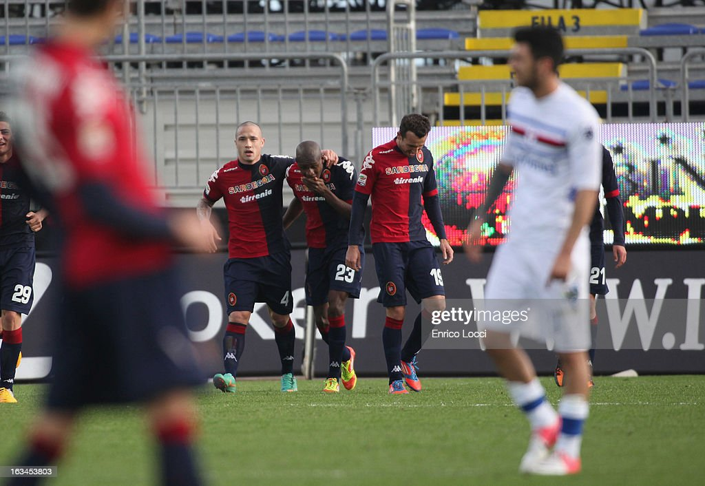 Victor Ibarbo of Cagliari celebrates whith the team- mates after scoring 3-0 during the Serie A match between Cagliari Calcio and UC Sampdoria at Stadio Sant'Elia on March 10, 2013 in Cagliari, Italy.