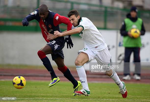 Victor Ibarbo of Cagliari in action during the Serie A match between Cagliari Calcio and US Sassuolo Calcio at Stadio Sant'Elia on December 1 2013 in...