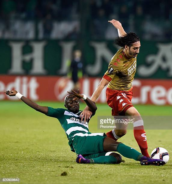 Victor Ibarbo of Panathinaikos and Ishak Belfodil forward of Standard Liege pictured during Uefa Europa League group G between Standard of Liege and...
