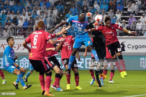 Victor Ibarbo of Sagan Tosu and Riku Matsuda of Cerezo Osaka compete for the ball during the JLeague J1 match between Sagan Tosu and Cerezo Osaka at...