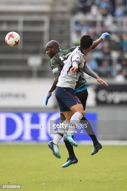 Victor Ibarbo of Sagan Tosu and Yuhei Tokunaga of FC Tokyo compete for the ball during the JLeague J1 match between Sagan Tosu and FC Tokyo at Best...