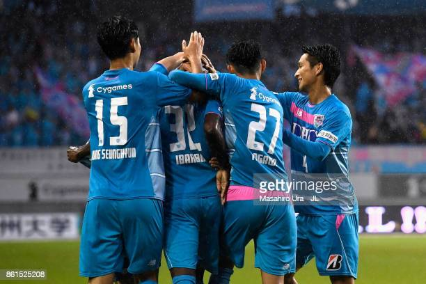 Victor Ibarbo of Sagan Tosu celebrates scoring the opening goal with his team mates during the JLeague J1 match between Sagan Tosu and Cerezo Osaka...