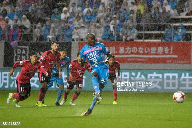 Victor Ibarbo of Sagan Tosu converts the penalty to score the opening goal during the JLeague J1 match between Sagan Tosu and Cerezo Osaka at Best...