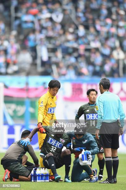 Victor Ibarbo of Sagan Tosu receives medical treatment during the JLeague J1 match between Sagan Tosu and FC Tokyo at Best Amenity Stadium on...