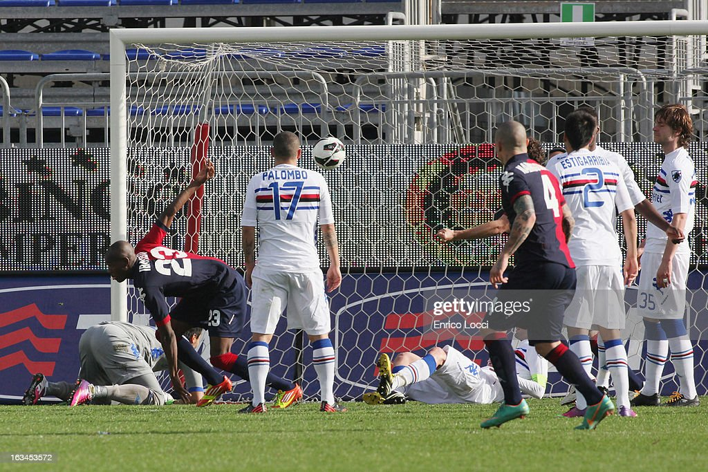 Victor Ibarbo of scoring 2-0 during the Serie A match between Cagliari Calcio and UC Sampdoria at Stadio Sant'Elia on March 10, 2013 in Cagliari, Italy.