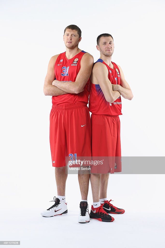 Victor Khryapa, #31 and Vitaly Fridzon, #7 of CSKA Moscow during the 2015/2016 Turkish Airlines Euroleague Basketball Media Day at Universal Sports Hall CSKA on October 1, 2015 in Moscow, Russia.