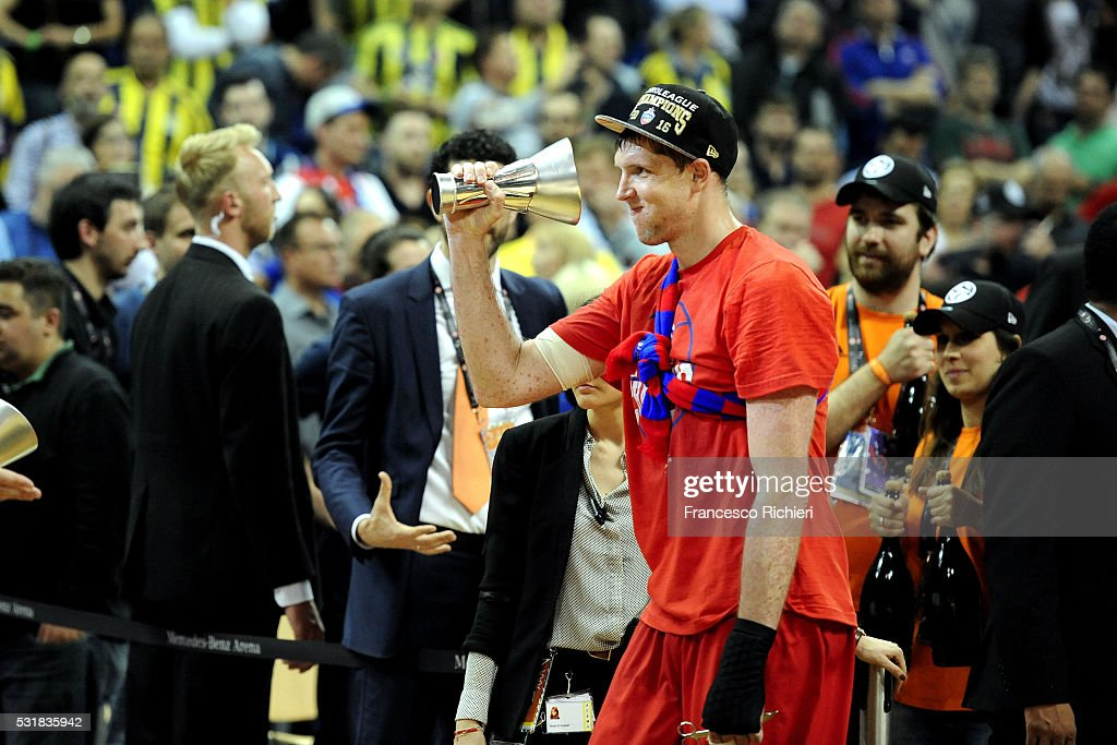 Victor Khryapa #31 of CSKA Moscow after the Turkish Airlines Euroleague Basketball Final Four Berlin 2016 Championship game between Fenerbahce...