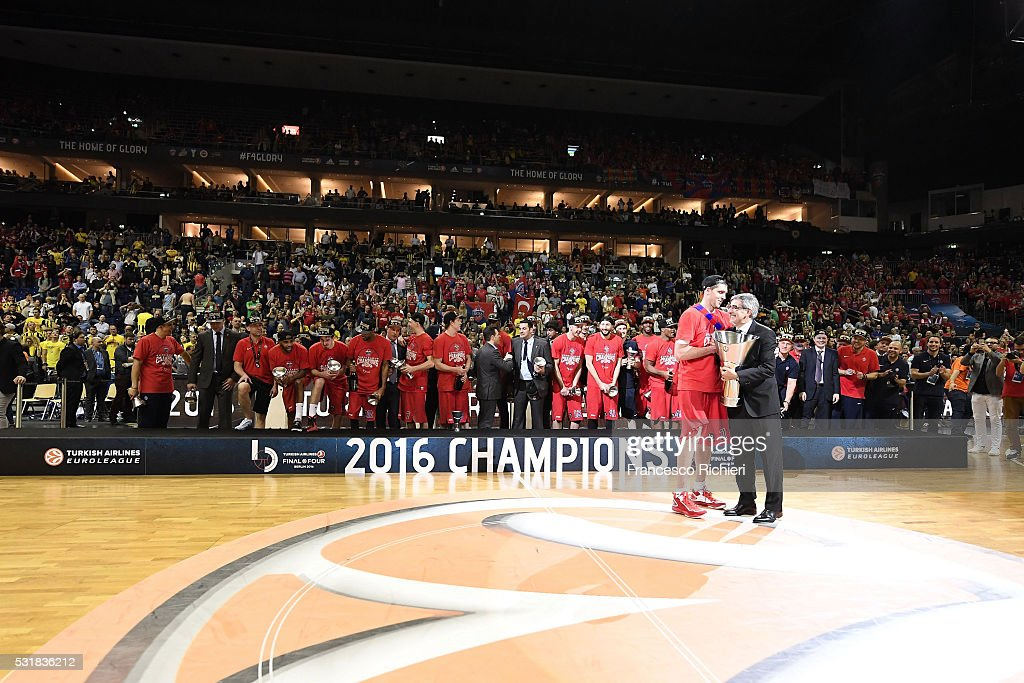 Victor Khryapa #31 of CSKA Moscow and Jordi Bertomeu after the Turkish Airlines Euroleague Basketball Final Four Berlin 2016 Championship game...