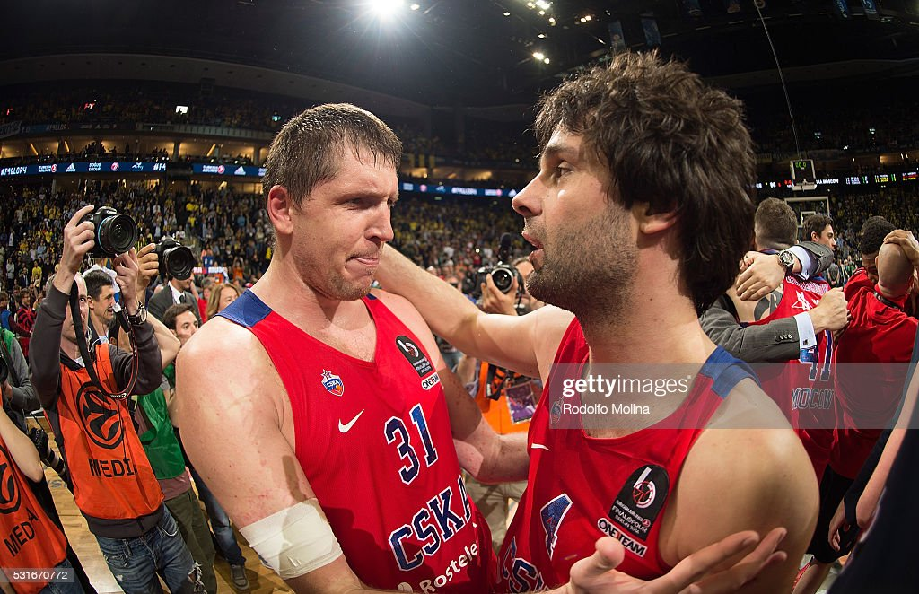 Victor Khryapa #31 of CSKA Moscow and Milos Teodosic #4 of CSKA Moscow celebrates at the end of the Turkish Airlines Euroleague Basketball Final Four...