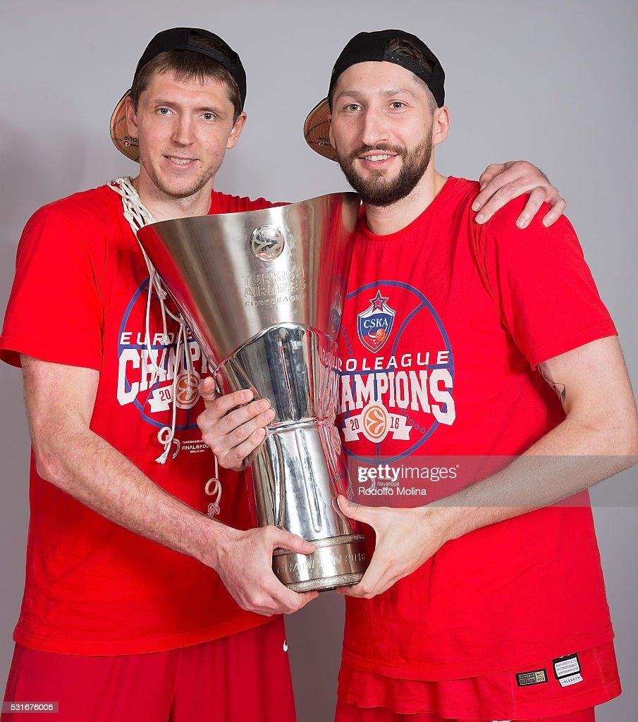 Victor Khryapa #31 of CSKA Moscow and Nikita Kurbanov #41 poses during the Turkish Airlines Euroleague Basketball Final Four Berlin 2016 Champion...