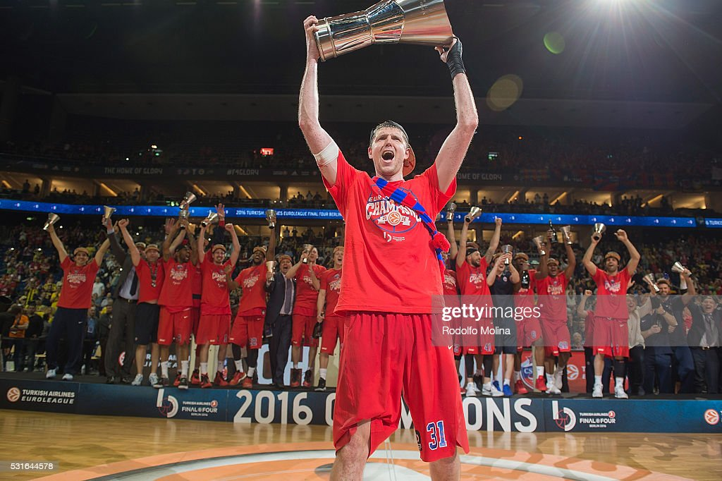 Victor Khryapa #31 of CSKA Moscow celebrates at the end of the Turkish Airlines Euroleague Basketball Final Four Berlin 2016 Championship game...