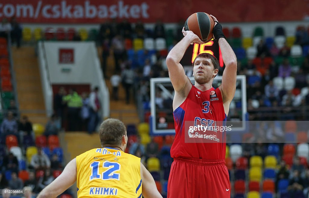 Victor Khryapa #31 of CSKA Moscow competes with Sergey Monia #12 of Khimki Moscow Region in action during the 20152016 Turkish Airlines Euroleague...